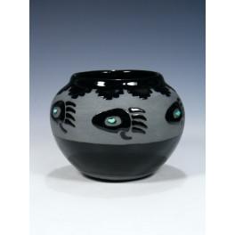 "San Juan Pueblo Töpferei ""Black Pottery"" Türkis, Bär"
