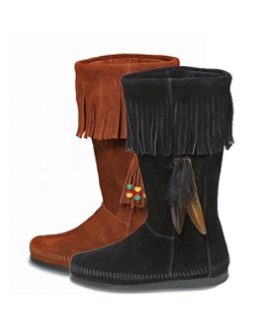 Mokassin Fransen-Stiefel mit Accessoires