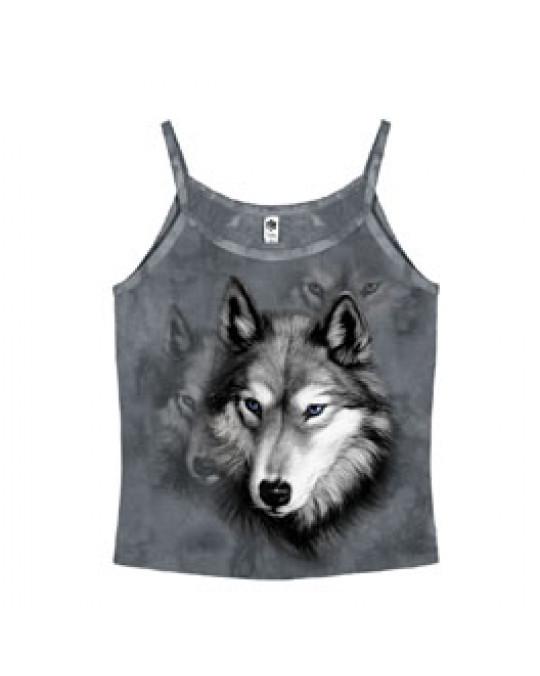 """""""Wolf Portrait"""" Spaghettiträger-Shirt für Damen"""