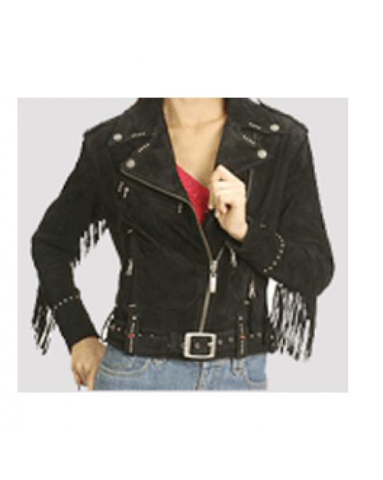 Bikerjacke Leder mit Fransen für Damen