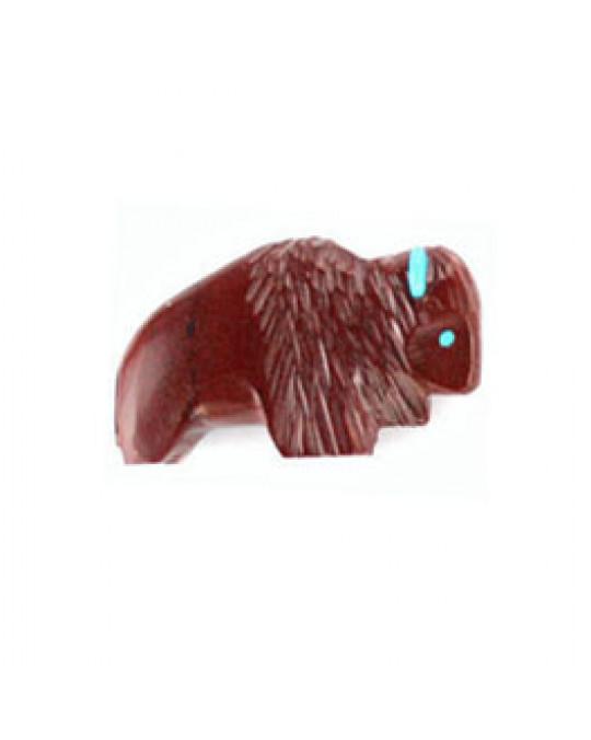 Zuni Krafttierschnitzerei Bison aus Pipestone