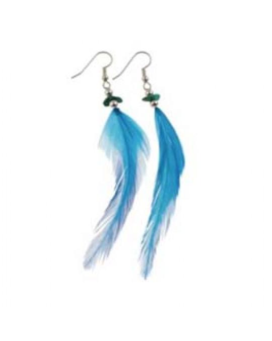Federn Ohrringe aus/in Türkis