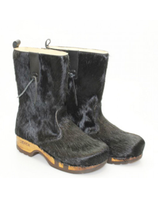 Kuhfell Stiefel, Holzschuhe!