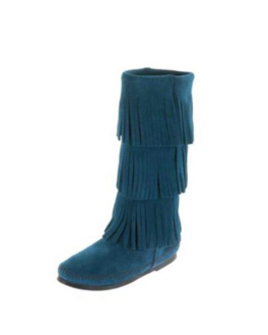 Mokassin Fransen-Stiefel 3 Lagen Trendfarbe pfauenblau Gr. 36