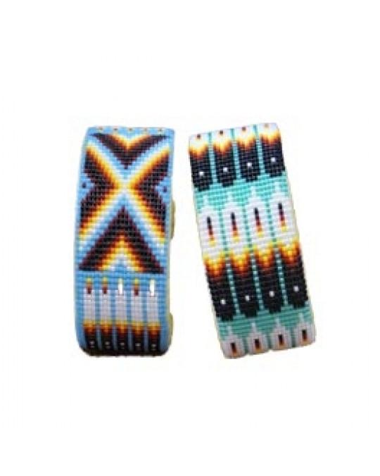 Armspangen aus Glasperlen in Blau- und Türkistönen