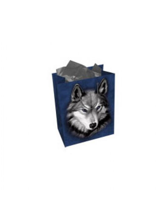 Tasche mit Geschenkspapier und -karte Wolf