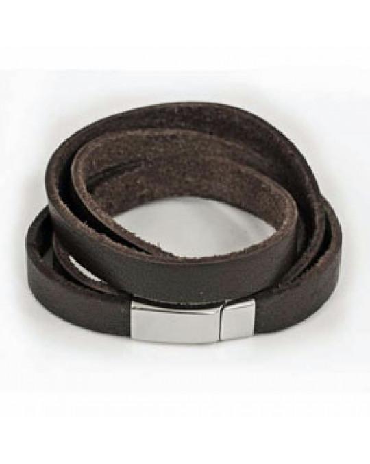 Leder-Armband aus 2 breiten Lederstreifen