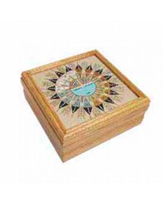 Sandbild-Kisten mit verschiedenen indianischen Symbolen in 2 Grössen
