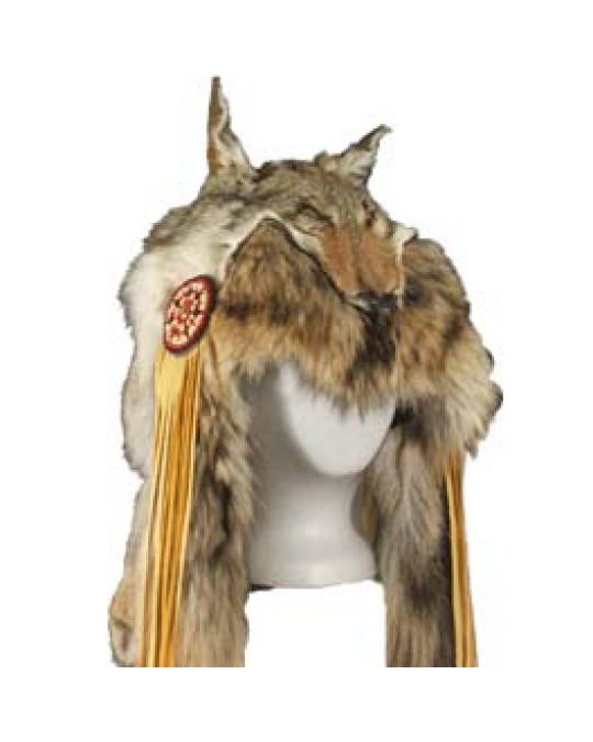 Schamanen Haube aus Kojotenfell der Navajo