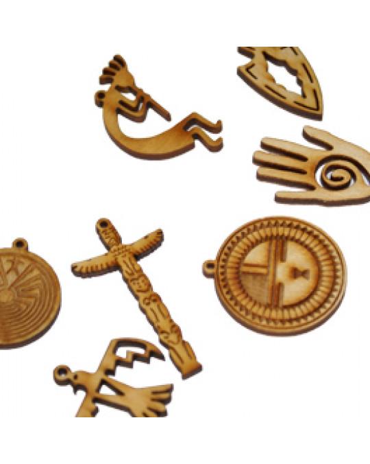 Holzamulette Symbole der Indianer