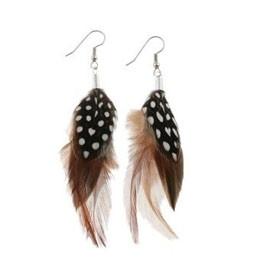 Kurze Ohrringe aus Natur-Federn