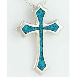 Silberanhänger mit Türkis-Inlay: Kreuz