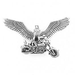 """Silberanhänger """"Ride Free"""" Adler auf Motorrad"""