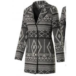 """Oneida"" Grey Geometric Design- Damen Ethno Jacke für den Winter"