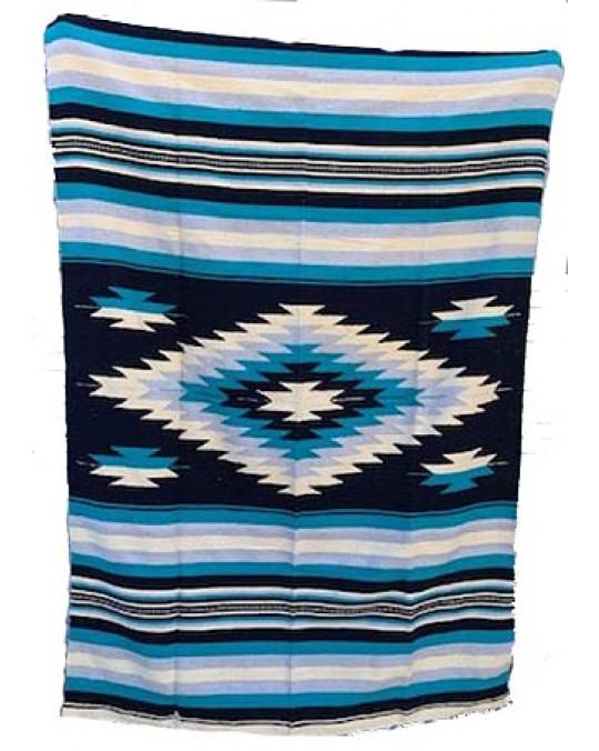 Schwere, extragrosse original mexikanische Decke/Teppich aus 100 % Wolle in Blautönen