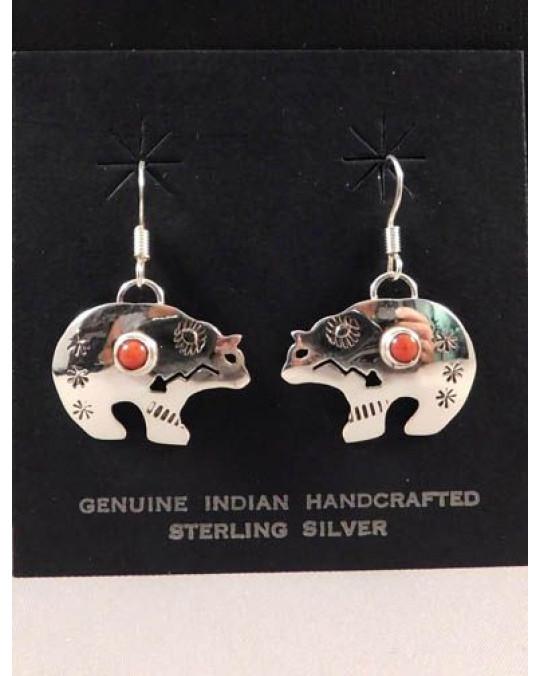 Navajo Ohrringe Bär mit Koralle