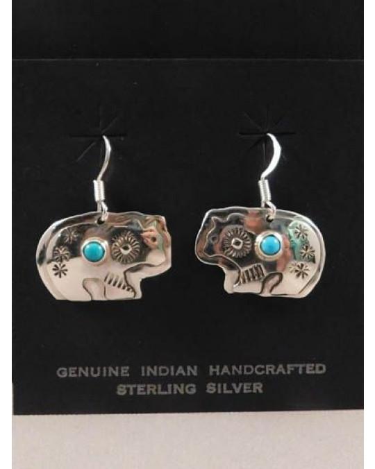 Navajo Ohrringe Bär mit Türkisen