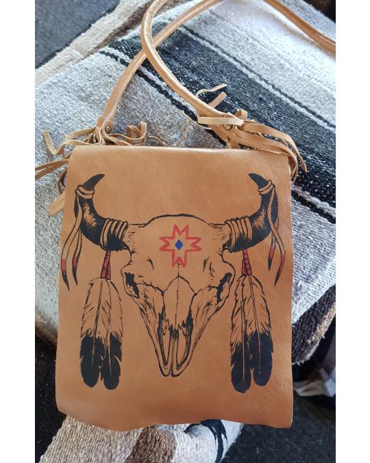 Ethno Tasche, von Hand mit Bison  Motiv bemalt