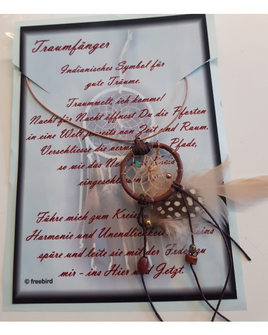 Natur Miniatur Traumfänger an Lederband mit Karte