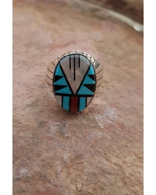 Klobiger Ring mit Zuni Einlegearbeit
