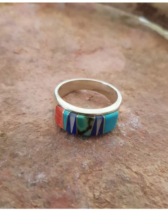 Zuni Inlayring, multicolor, grosse Grösse