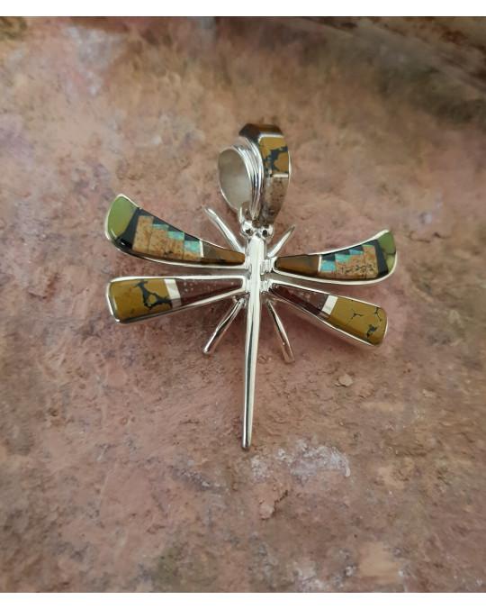 Libellen Anhänger mit verschiedenen Edelstein Inlays