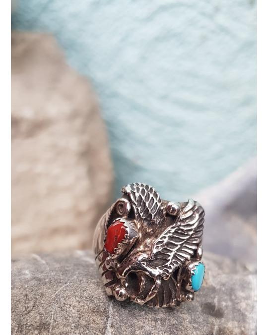 Adler Ring der Navajo mit Koralle und Türkis