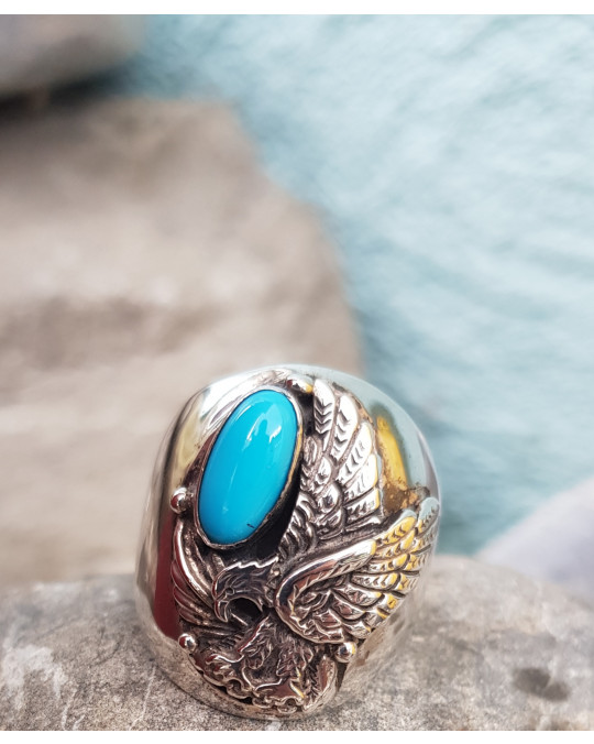 Adler Ring der Navajo mit Türkis