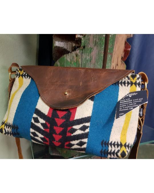 Handtasche für Damen aus Wollstoff und Leder