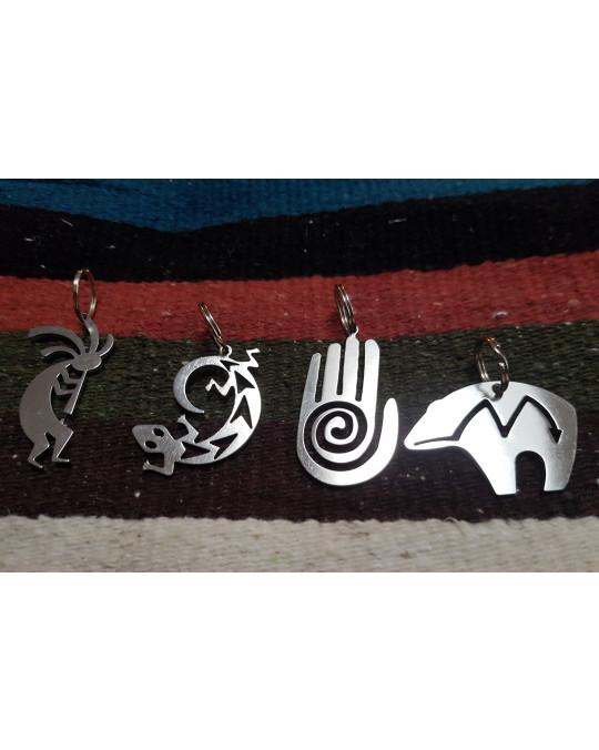 Grosse Edelstahl-Schlüsselanhänger Symbole Bär, Kokopelli, Eidechse, Hand