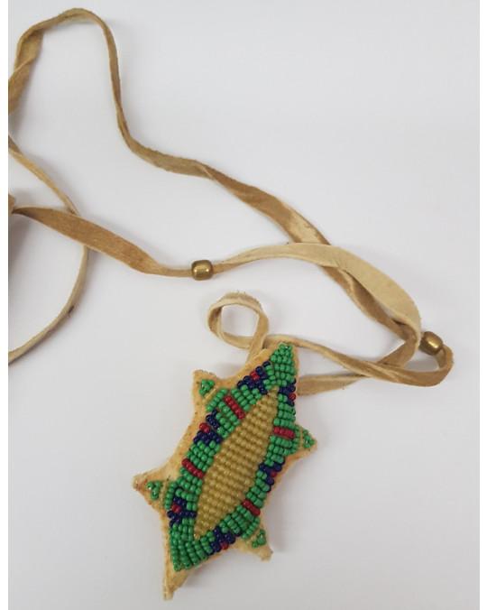 """Hirschleder Nabelschnur """"Beutel""""/Amulett, indianische Handarbeit"""