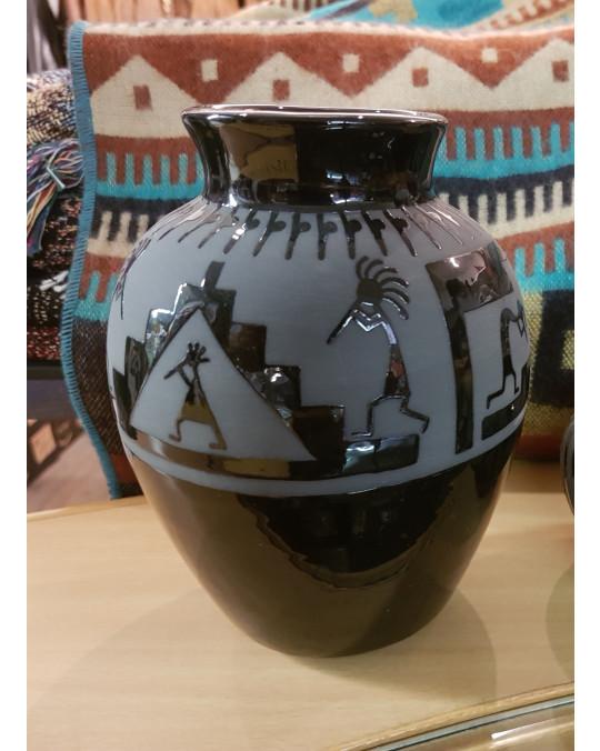 """San Juan Pueblo Töpferei """"Black Pottery"""" Kokopelli"""