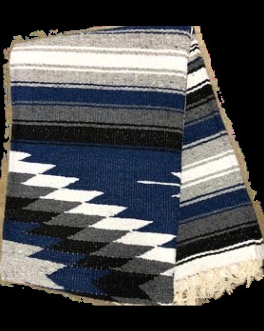 Gewobene, original mexikanische Decke in mehreren Farben-navyblau