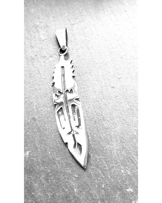 Anhänger grosse Silberfeder mit Tribal Design
