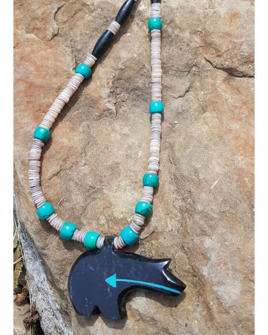 Muschelkette Amulett  Bär mit Herzlinie