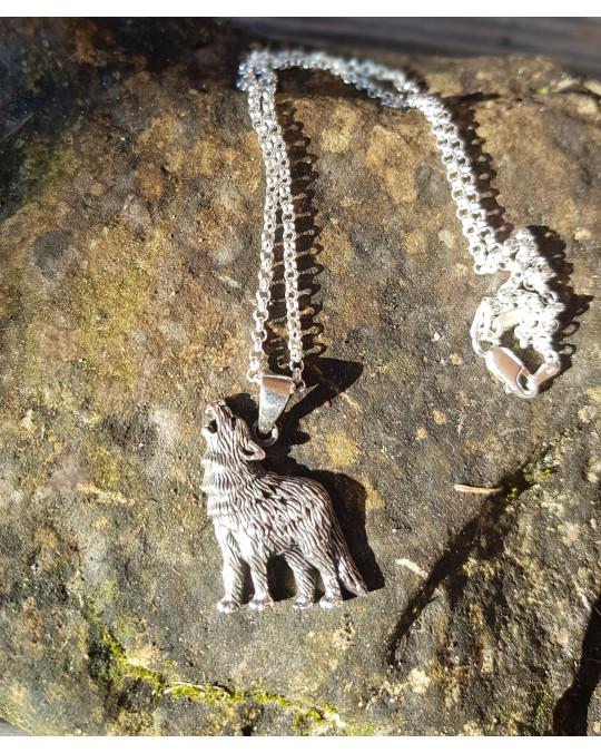 Silberanhänger -  Wolf  - heulend, mit Kette