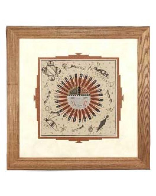 """Sandbilder der Navajo """"Sunface"""", aber in Türkis"""