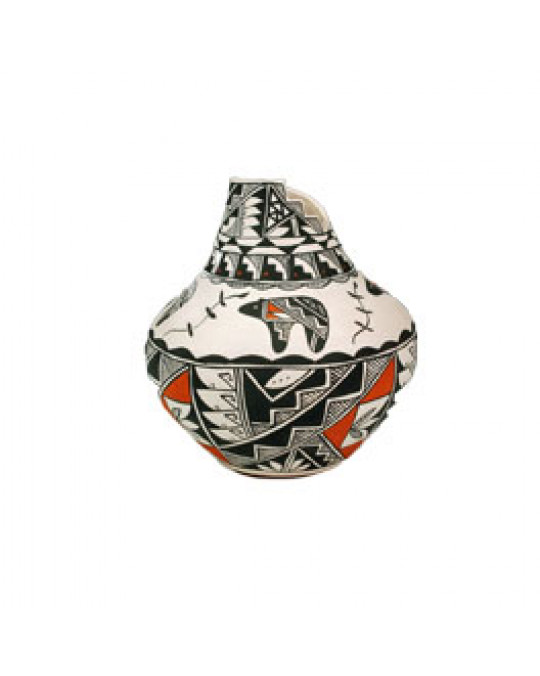 "Acoma Pueblo Töpferei ""Kiva-Step"" Vase Bär"