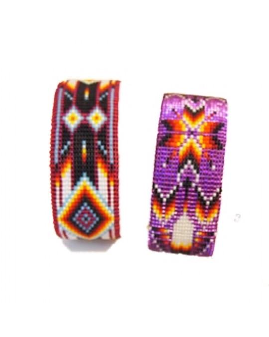 Breite Armspangen aus Glasperlen - Farbtöne rot und violett