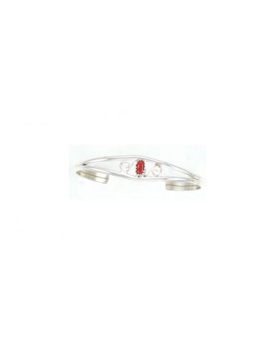 Armreifen, extrem klein und fein, mit Spiralenmotiv in rot (Koralle)