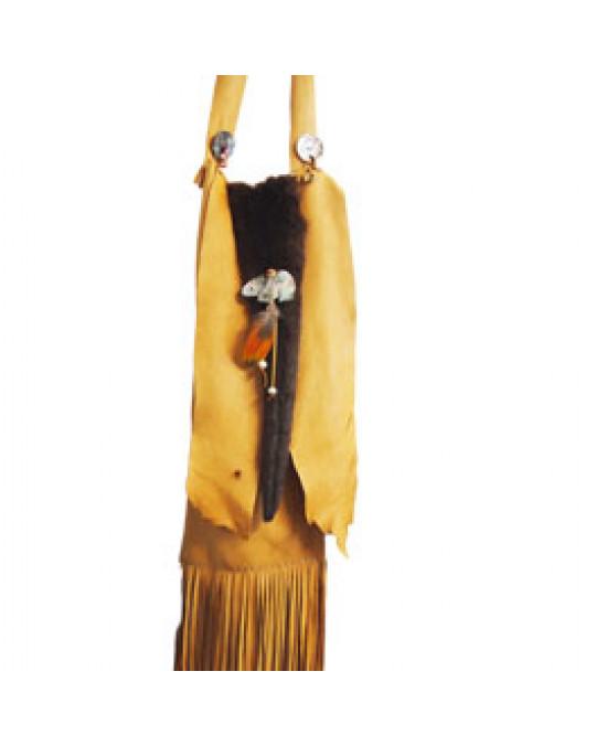 Hirschledertasche (lang) aus indianischer Handarbeit, mit Fell und Muschelverzierung