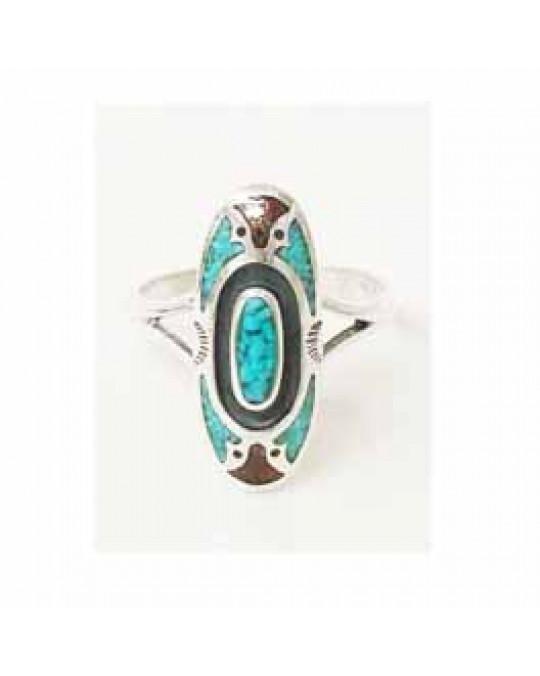 Länglicher Ring mit Türkis- und Korallen-Inlay