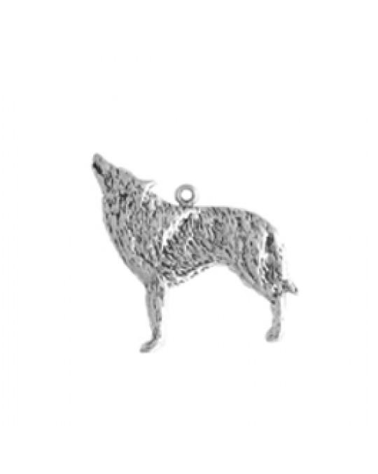 Flacher Wolf Anhänger medium, div. Ösen dazu
