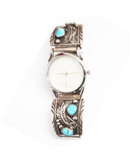 Navajo Uhr mit Türkisen am Uhrband