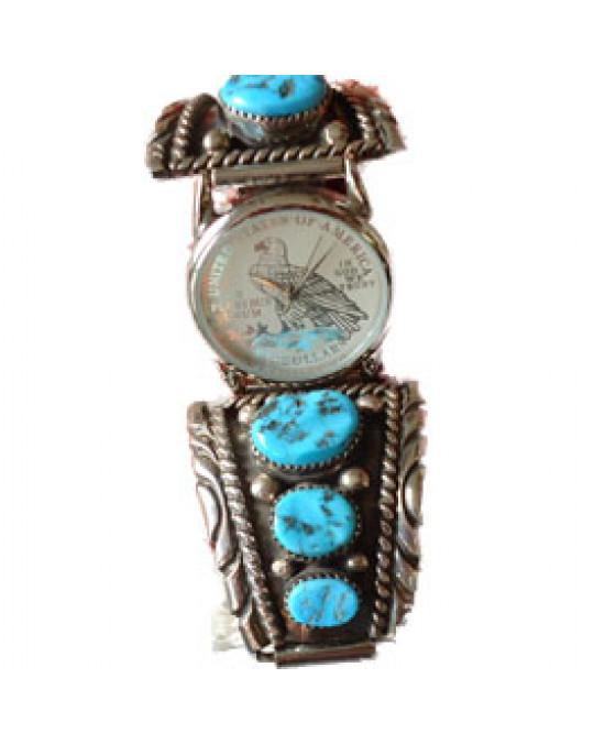 Uhr mit 3 grossen Türkisen am Uhrband