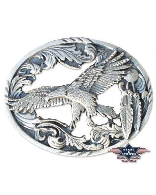 Gurtschnalle aus Zinn, Adler Design