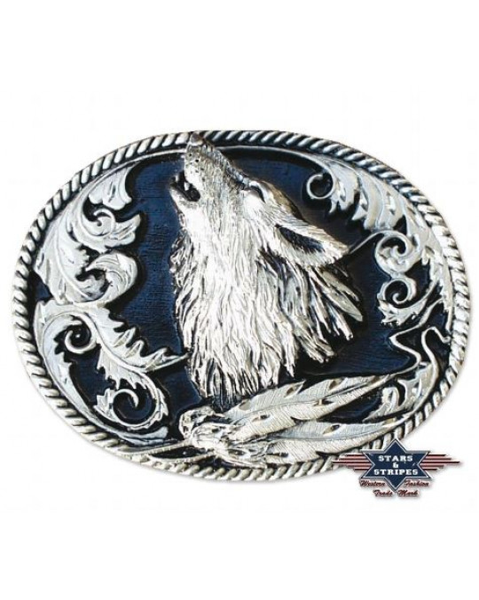 "Gurtschnalle aus Zinn, Wolfdesign ""Howling Wolf (Head)"" antik oder hochglänzend"