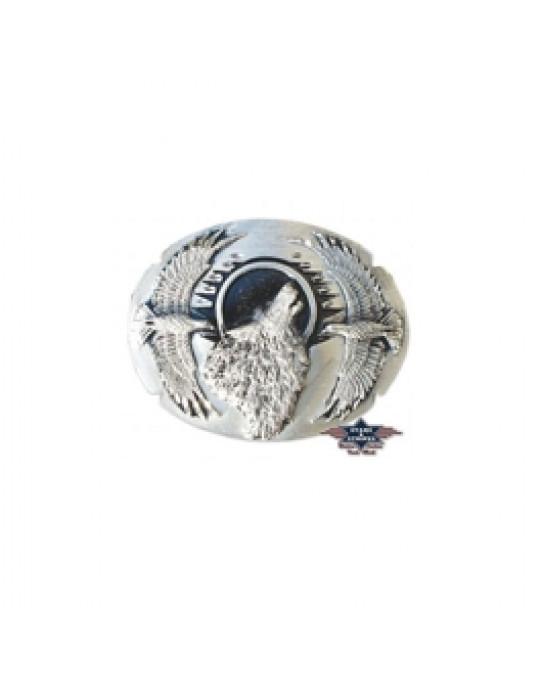 Gurtschnalle aus Zinn, Wolf und Adler Design