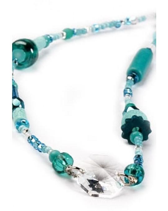 Armband mit türkisen Perlen und Swarovski Kristall (Ojibway Handarbeit)
