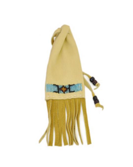 Lederbeutel aus Hirschleder, bestickt, Lakota Handarbeit